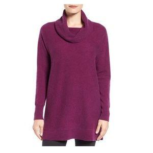 [Halogen] Cowl Neck Cashmere Tunic, Purple Size L